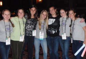 Six students (Rebecca Lewis '16, Christine Cunningham '15, Jaclyn Porfilio '15, Abbie Zimmermann-Niefield '15, Jenna Maddock '15, and Mia Smith '16) as well as Research Associate Kelsey Levine and Prof. Andrea Danyluk at GHC in Minneapolis, MN 2013