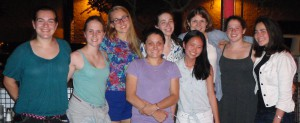 Jenna Maddock '15, Abigail Zimmermann-Niefield '15, Emma Harrington '15, Prof. Jeannie Albrecht, Pamela Mishkin '16, Olivia Pham '15, Prof. Andrea Danyluk, Sarah Abramson '15, and Erica Moszkowski '15 at GHC in Phoenix, AZ 2014
