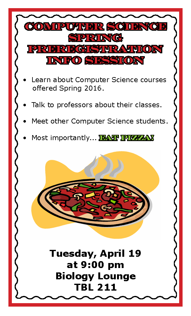 Pizza Info Session Preregistration